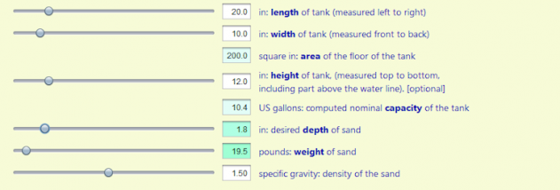Aquarium Sand Depth Calculator screenshot