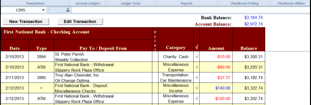 Checkbook for Excel screenshot