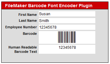 FileMaker Barcode Font Encoder Plugin screenshot