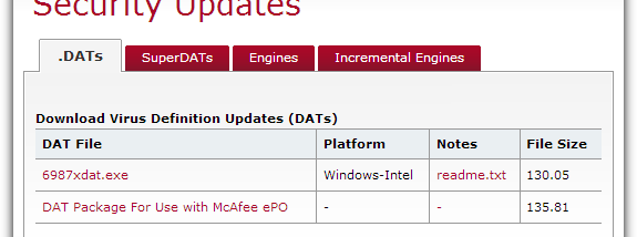 McAfee Virus Definitions screenshot