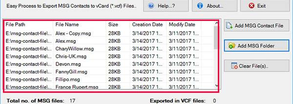 MSG Contacts to VCF Converter - Windows 10 Download