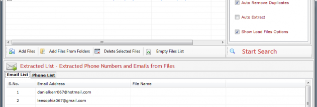 Phone and Email Extractor Files screenshot