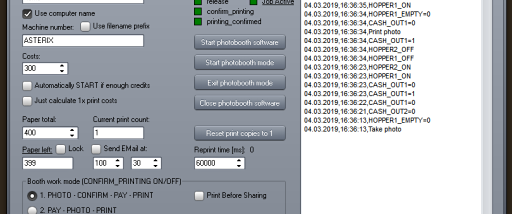 Photo booth cash control system screenshot