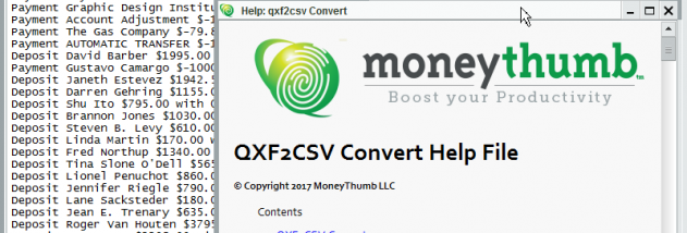 QXF2CSV Convert screenshot