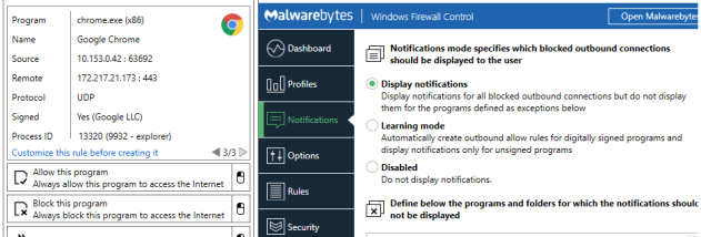 Windows Firewall Control screenshot